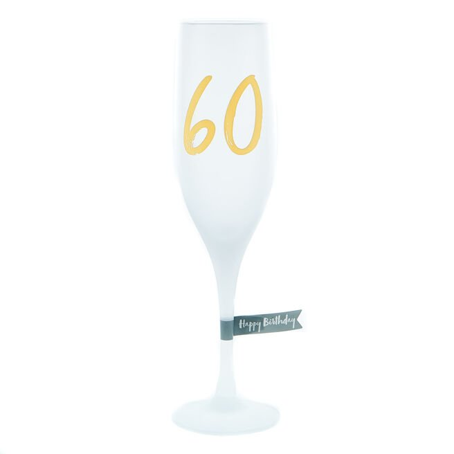 60th Birthday Frosted Champagne Flute