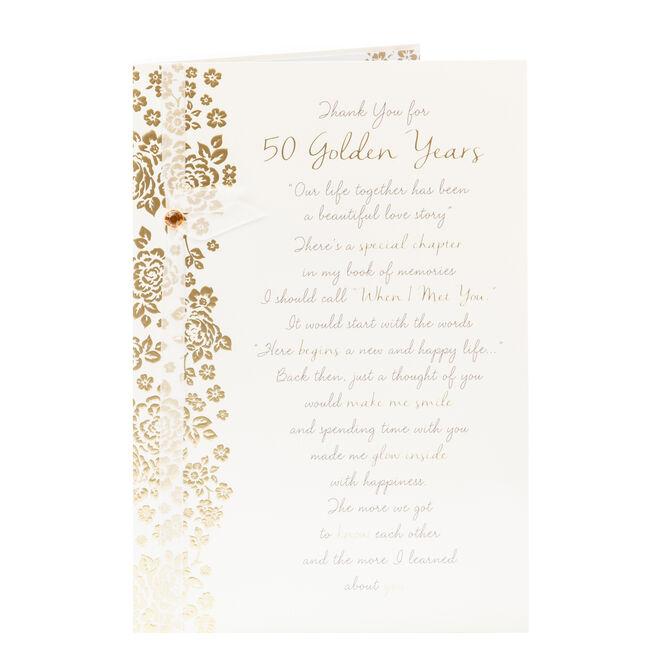 50th Wedding Anniversary Card - Golden Years