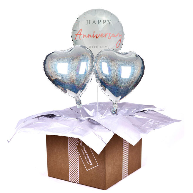 With Love Happy Anniversary Balloon Bouquet - DELIVERED INFLATED!