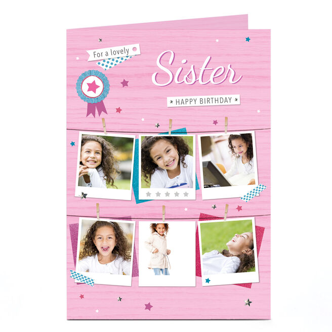 Photo Birthday Card - Pink Polaroids, Sister
