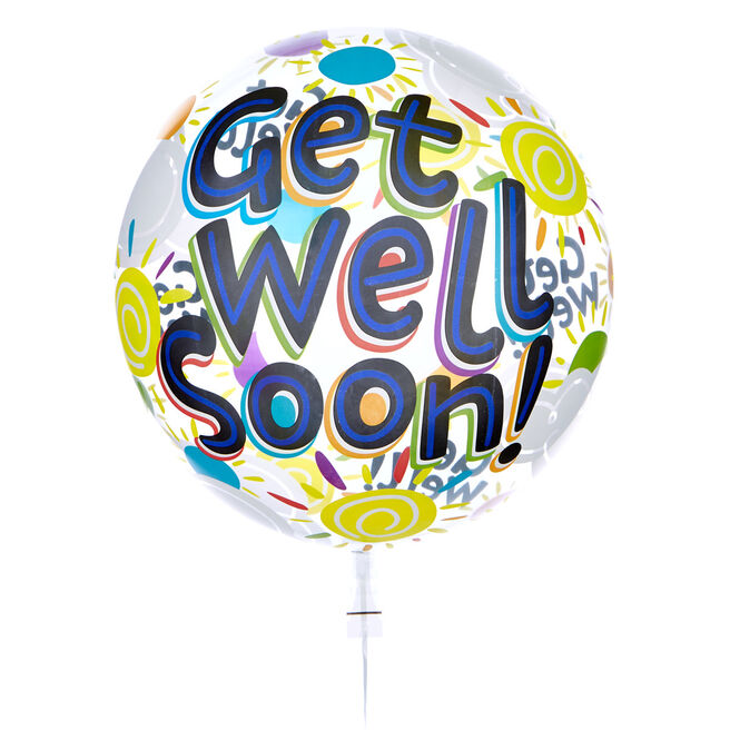 22-Inch Bubble Balloon - Get Well Soon - DELIVERED INFLATED!