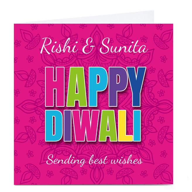Personalised Roshah Designs Diwali Card - Colourful Text