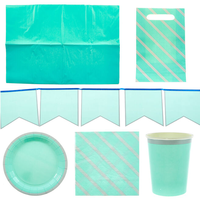 Teal & Silver Party Tableware & Decorations Bundle - 8 Guests