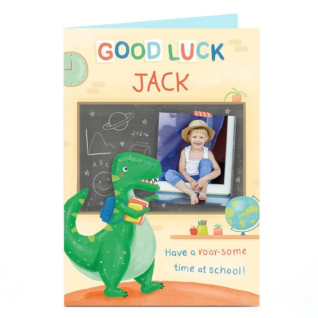 Photo Good Luck Card - Dinosaur School Starter