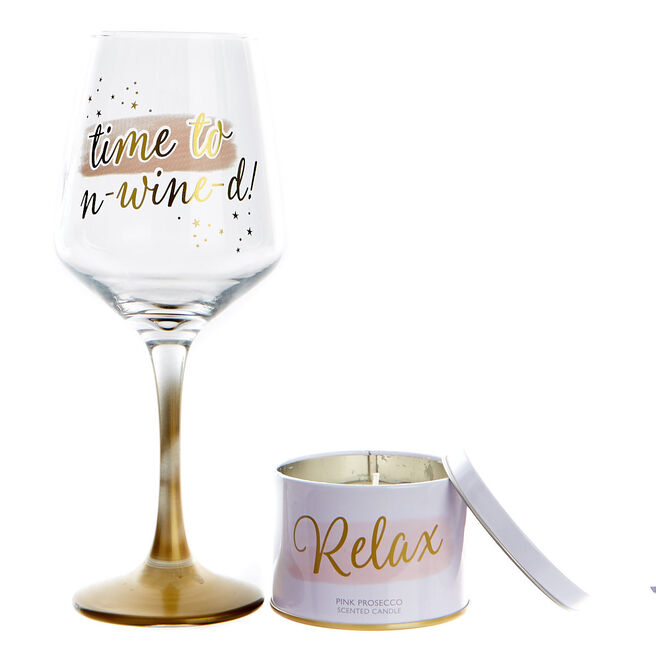 Wine Glass & Candle Set - Time To Un-wine-d