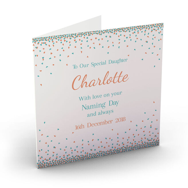 Personalised Baby Card - Confetti Triangles, Orange