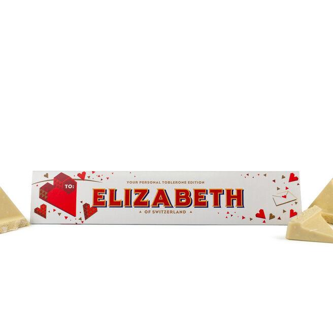 Personalised White Chocolate Toblerone - Love Heart