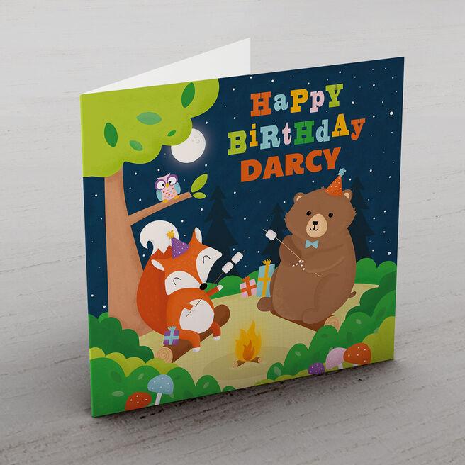 Personalised Birthday Card - Campfire Animals