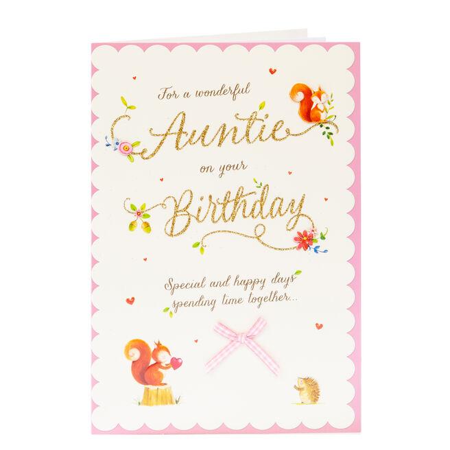 Birthday Card - Wonderful Auntie, Woodland