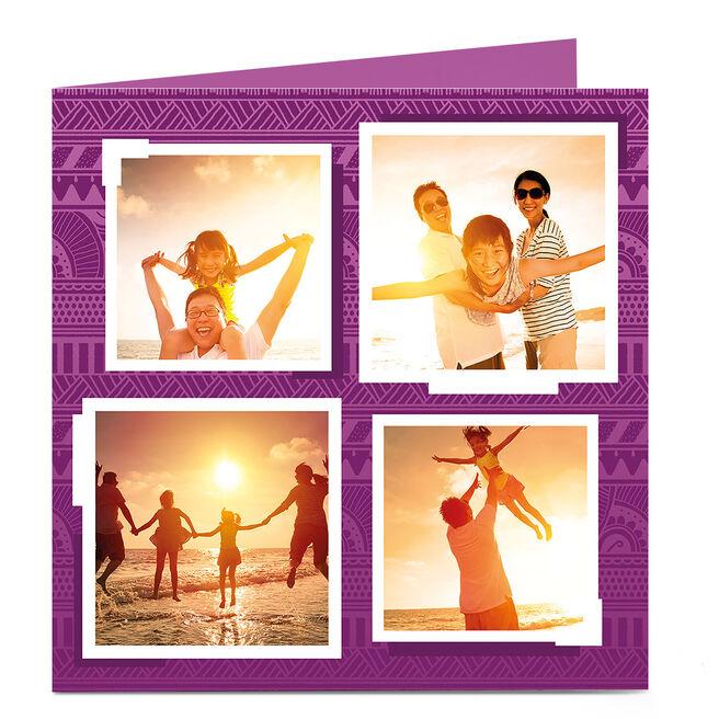 Photo Card - Purple Aztec