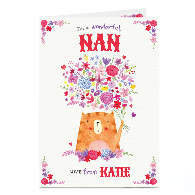 Personalised Birthday Card - Cat With Flowers, Nan
