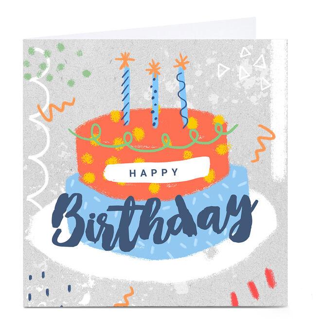 Personalised Little Mono Birthday Card - Cake