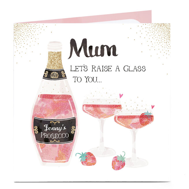 Personalised Mother's Day Card - Let's Raise A Glass To You