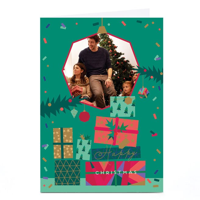 Photo Christmas Card - Stack Of Gifts