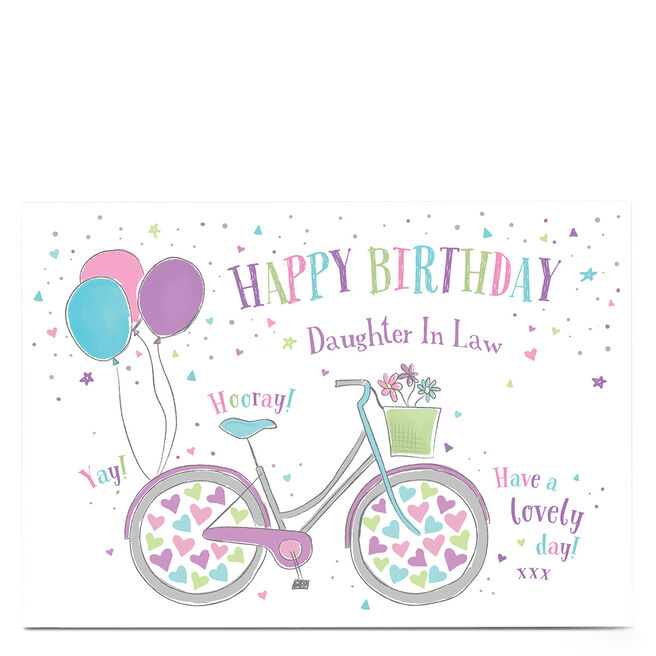Personalised Birthday Card - Bike & Hearts Daughter in Law