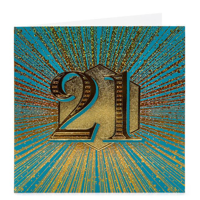 21st Birthday Card - Teal & Gold