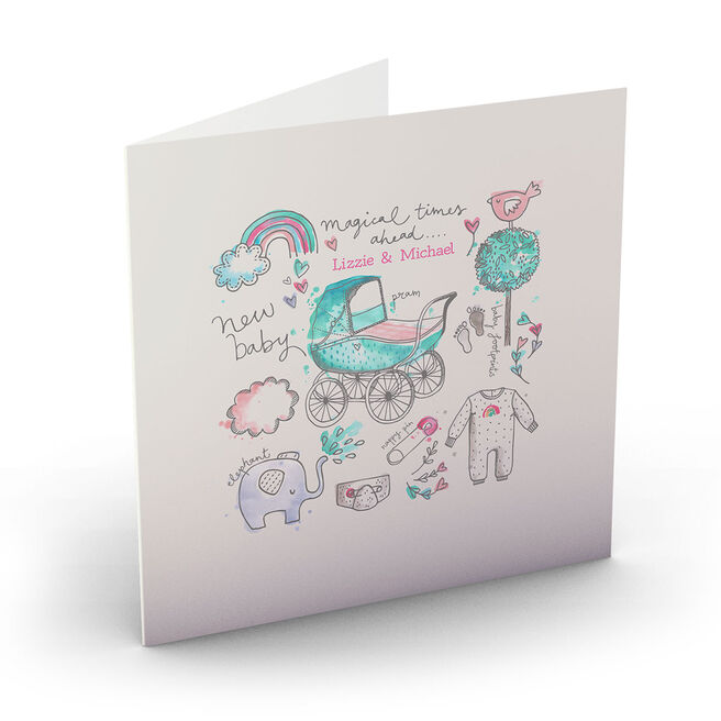 Personalised Bev Hopwood New Baby Card - Magical Times