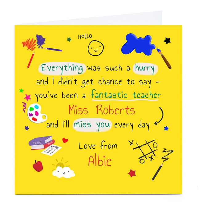 Personalised Thank You Card - Fantastic Teacher
