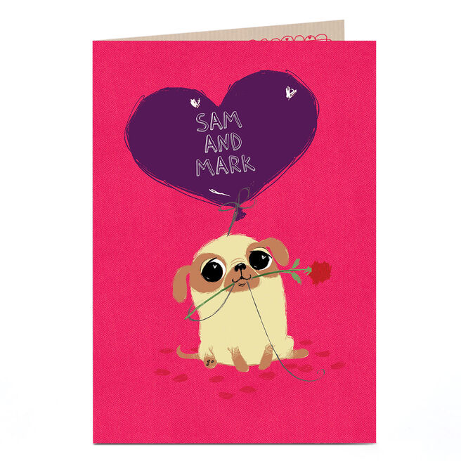 Personalised Card - Pug With Rose