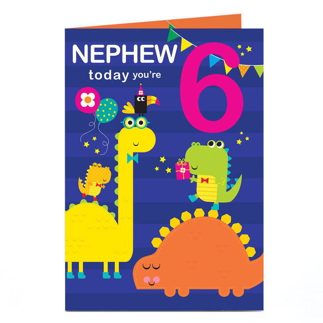 Personalised Any Age Birthday Card - Dinosaurs With Bow Ties