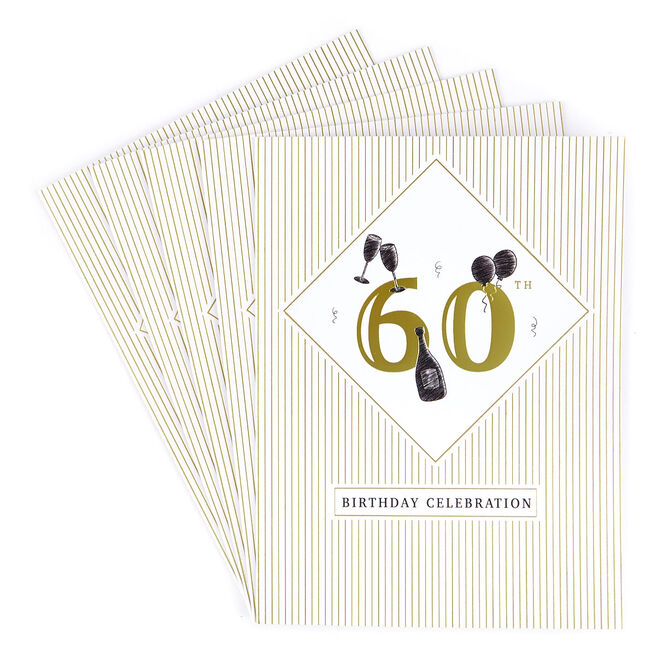 60th Birthday Party Invitations - Pack of 12