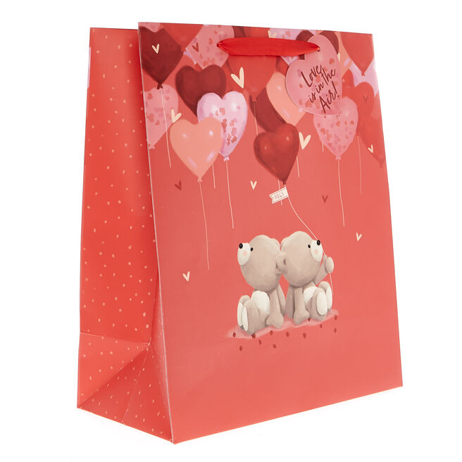 Medium Portrait Valentine's Day Gift Bag - Hugs Bear Hearts