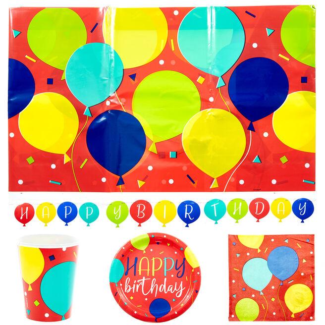 Birthday Balloons Party Tableware & Decoration Bundle - 66 Pieces