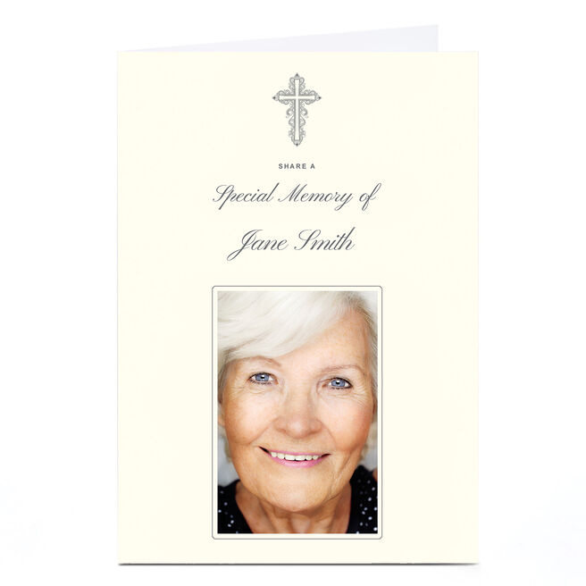 Photo Memorial Card - Cream