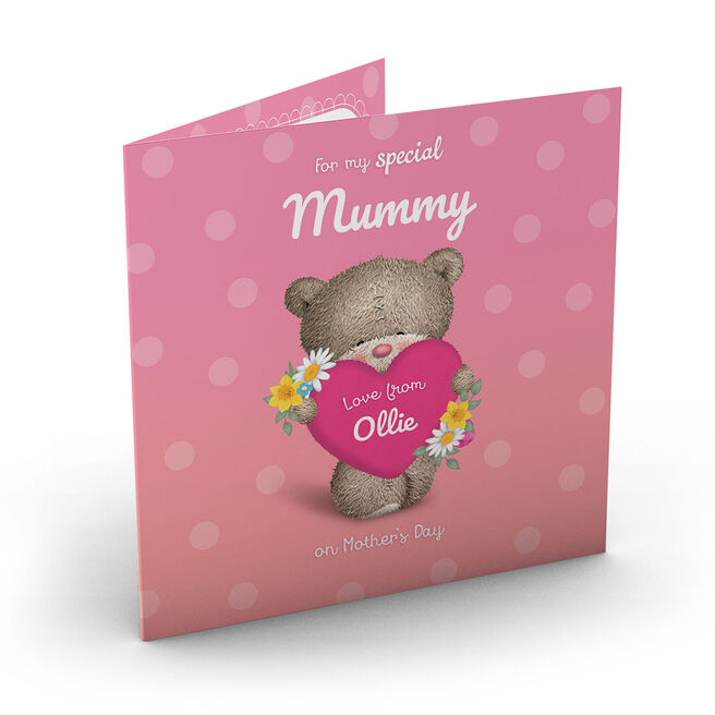 Personalised Hugs Mother's Day Charity Card - Bear Holding Heart