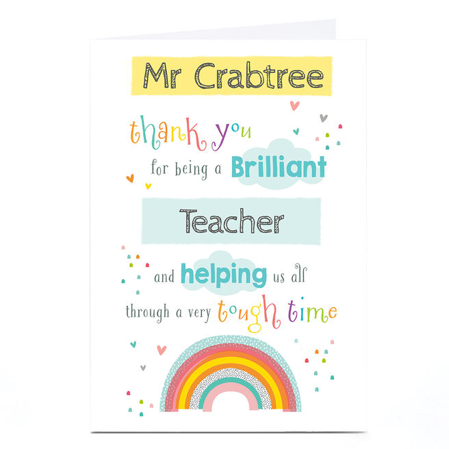 Personalised Thank You Card - Helping Us All Through