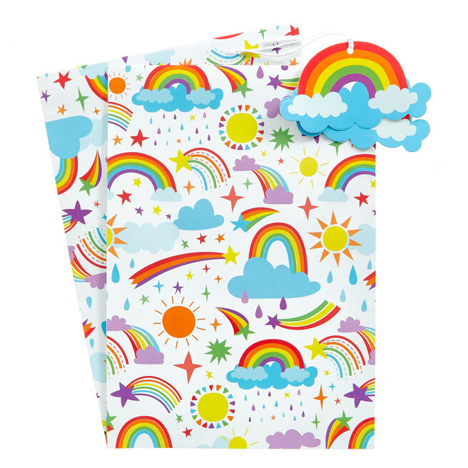 Rainbow Wrapping Paper & Gift Tags - Pack Of 2