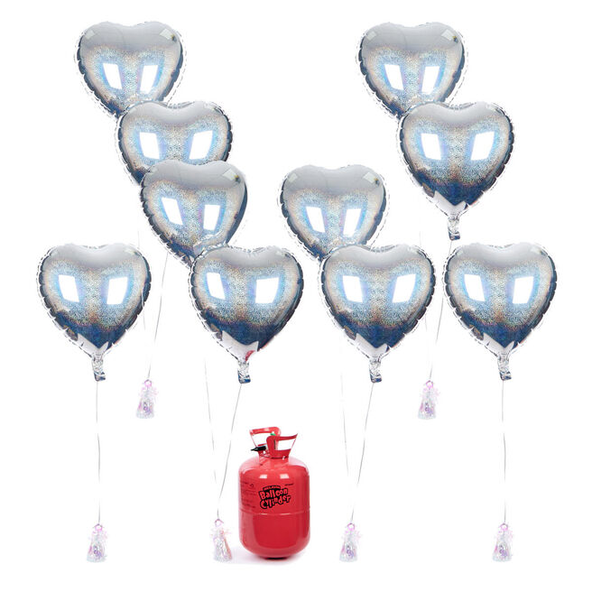 Party Balloon Bundle - 10 Silver Hearts & Helium