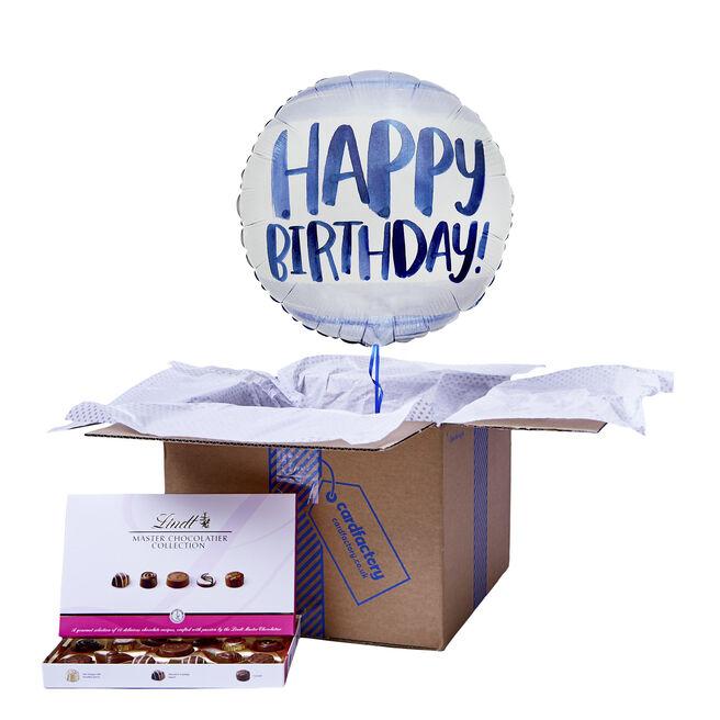 Blue Watercolour Happy Birthday Balloon & Chocolate Box