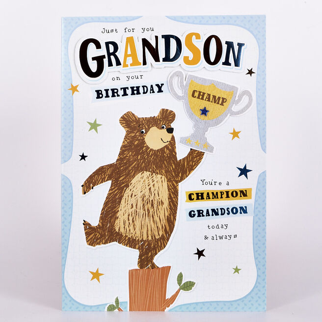 Signature Collection Birthday Card - Grandson Bear Trophy
