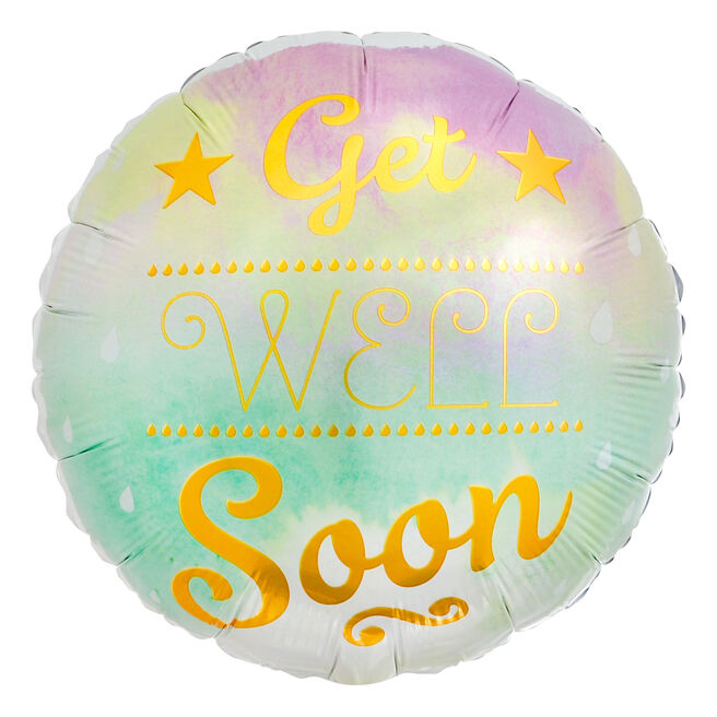 Watercolour Get Well Soon 18-Inch Foil Helium Balloon