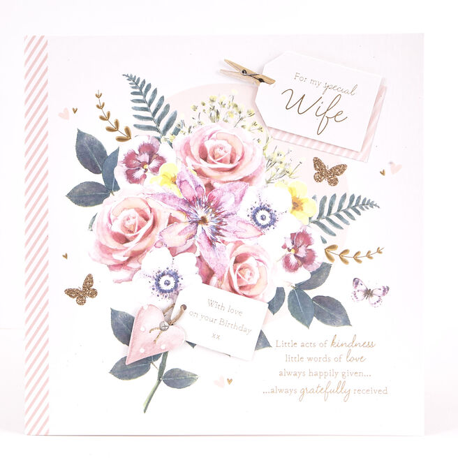 Exquisite Collection Birthday Card - Wife With Love