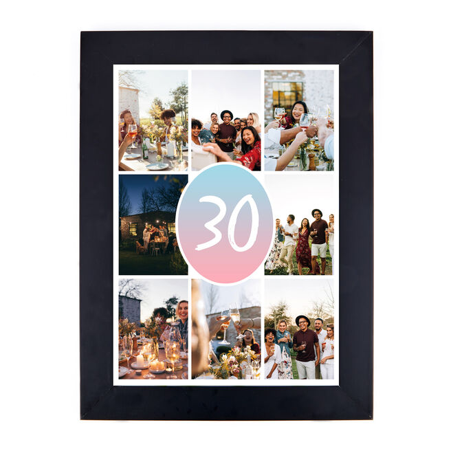 Personalised 30th Birthday Photo Print - Pink & Blue Gradient