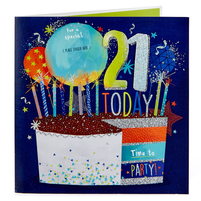 Exquiste Collection 21st Birthday Card - Male Relation Stickers