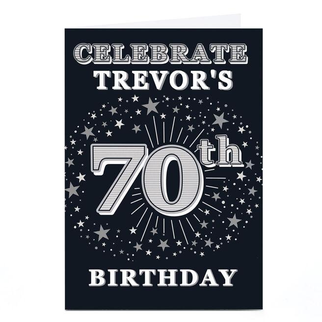 Personalised 70th Birthday Invitation - Silver Stars