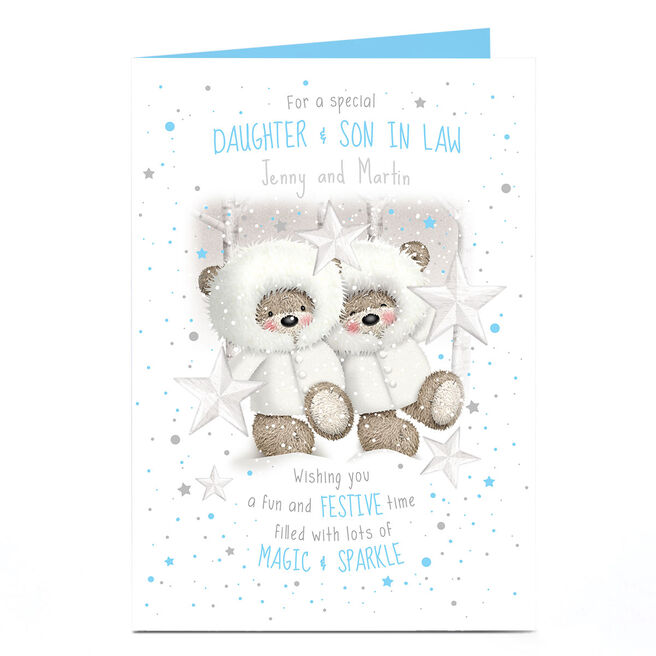Personalised Hugs Bear Christmas Card - Fun & Festive Couple