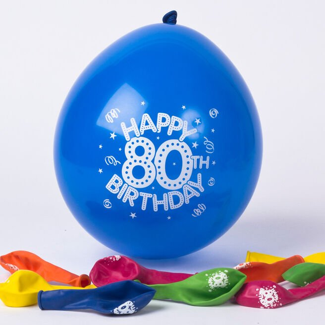Multicoloured Age 80 Small Air-fill Latex Balloons, Pack Of 10