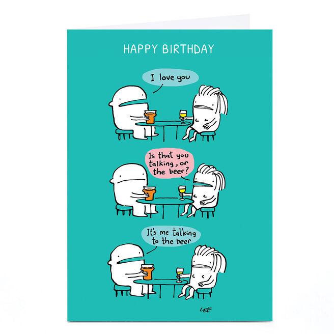 Personalised Lee Fearnley Birthday Card - Beer Talking