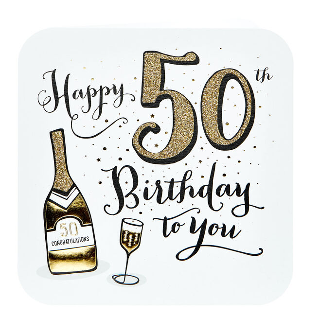 Platinum Collection 50th Birthday Card - Champagne