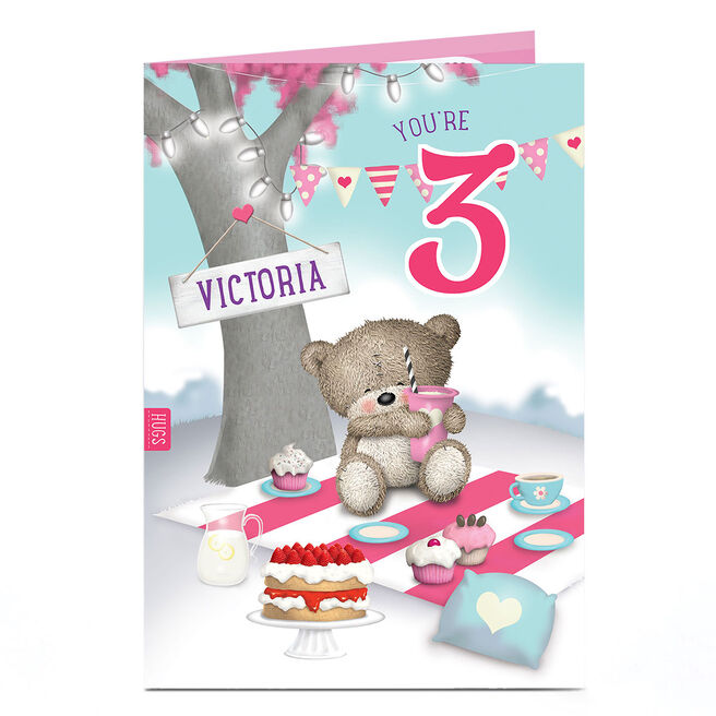 Personalised Hugs Any Age Birthday Card - Picnic Tree