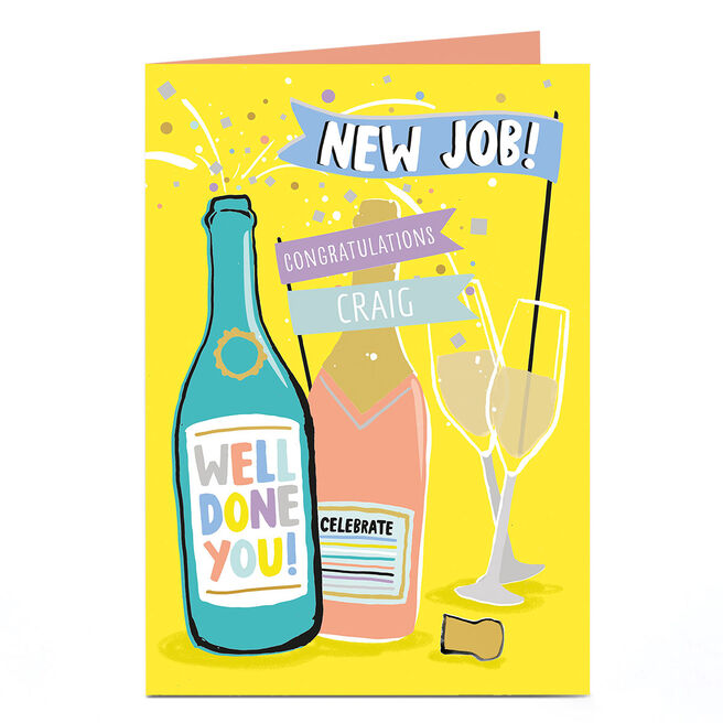 Personalised New Job Card - Congratulations Champagne