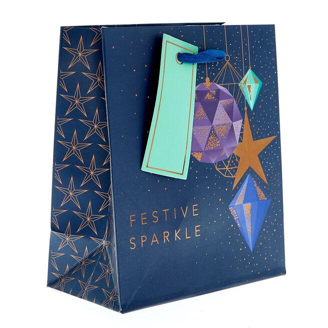 Miniature Portrait Festive Sparkles Christmas Gift Bag