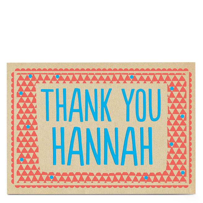 Personalised Thank You Card - Red & Blue Border