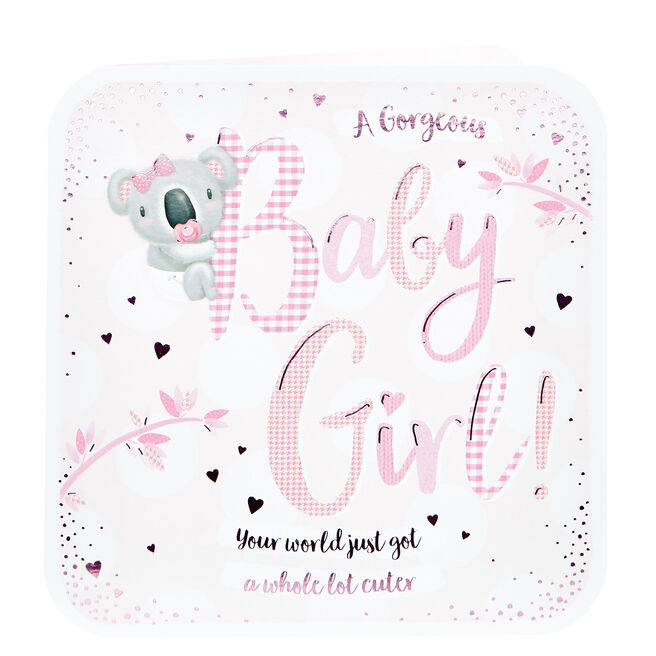 Platinum Collection New Baby Card - Baby Girl, Koala