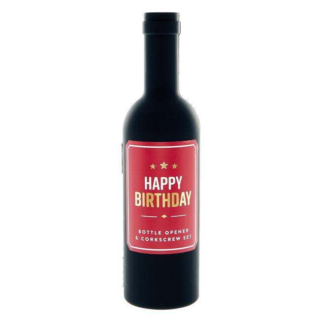 Happy Birthday Bottle Opener & Corkscrew Set