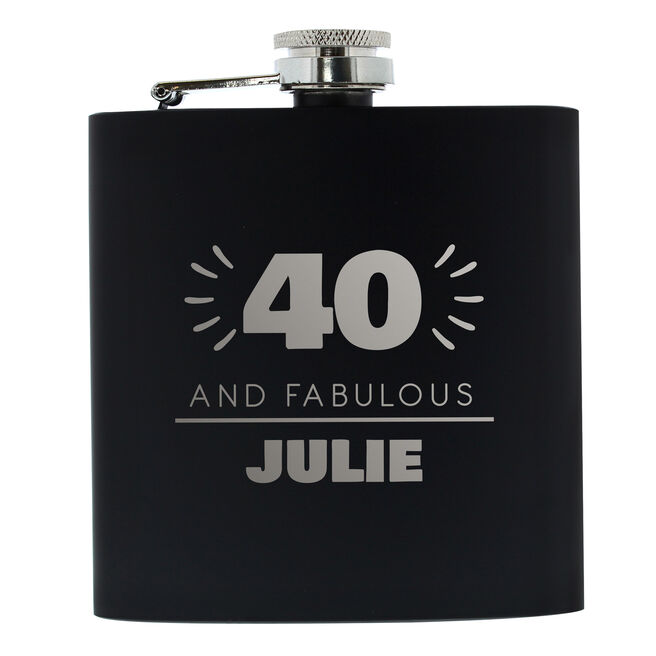 Personalised 40th Birthday Hip Flask - Black & Silver